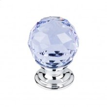 Light Blue Crystal Knob 1 1/8 Inch - Polished Chrome