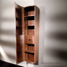 """Wall-mount cabinet with two pull-out shelves, two adjustable shelves, and one fixed shelf behind one door routed for finger pulls, 15""""W, 12 1/4""""D, 63""""H."""