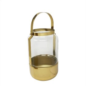 "12.5"" Metal & Glass Lantern, Gold"