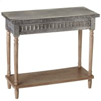 Galvanized Console Table with Greywash Legs & Shelf. Product Image