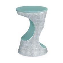 Indochine Silver Round Cut-Out Lamp Table