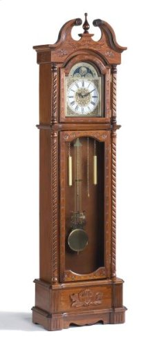 Carved Brown Cherry Clock (Uses 1AA, 2D batteries)