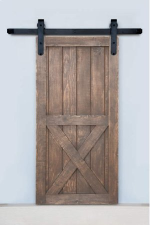 8' Barn Door Flat Track Hardware - Smooth Iron Round End Carrier Style Product Image