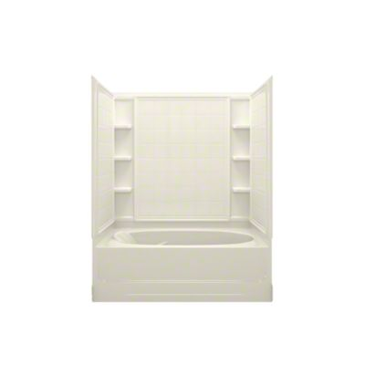 "Ensemble™ AFD, Series 7110, 60"" x 36"" x 74-1/4"" Tile Bath/Shower - Right-hand Drain - KOHLER Biscuit"