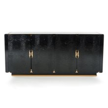 A&X Talin Modern Black Crocodile & Rosegold Buffet