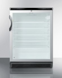 """Commercially Listed Built-in Undercounter Beverage Center In 24"""" Footprint, With Black Cabinet, Glass Door, and Lock"""
