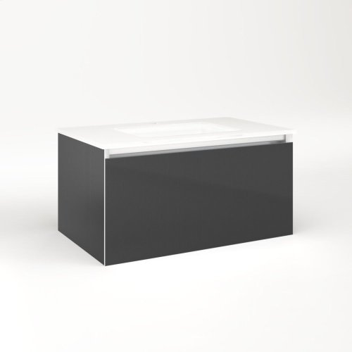 """Cartesian 30-1/8"""" X 15"""" X 18-3/4"""" Slim Drawer Vanity In Smoke Screen With Slow-close Plumbing Drawer and Selectable Night Light In 2700k/4000k Temperature (warm/cool Light)"""