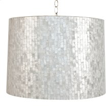 Large Brick Pattern Capiz Shell Pendant. Uses 2 60 Watt Bulbs and Comes With Diffuser. Comes W. 3' Chrome Chain and Canopy. Additional Chain May Be Purchased Upon Request.