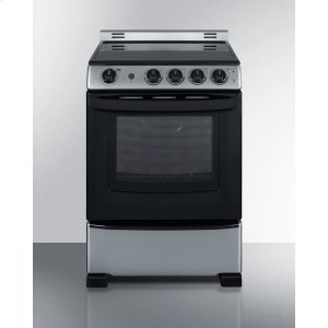 "Summit24"" Wide Smooth-top Electric Range In Stainless Steel, With Lower Storage Drawer and Oven Window"