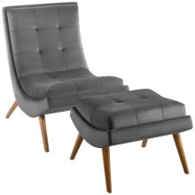 Ramp Upholstered Performance Velvet Lounge Chair and Ottoman Set in Gray