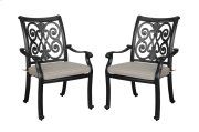 Emerald Home Versailles Outdoor Dining Arm Chair-beige Cushions-onyx Cast Aluminum Frame-od1045-20-2-05 Product Image