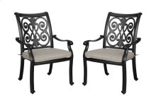 Emerald Home Versailles Outdoor Dining Arm Chair-beige Cushions-onyx Cast Aluminum Frame-od1045-20-2-05