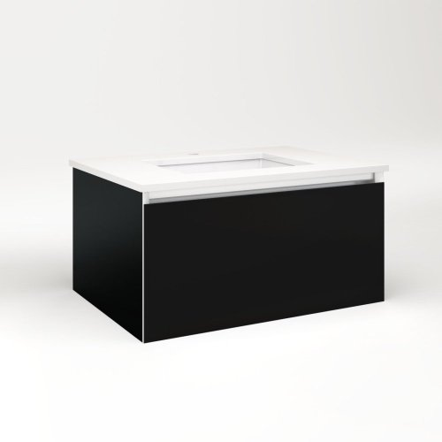 "Cartesian 30-1/8"" X 15"" X 21-3/4"" Single Drawer Vanity In Black With Slow-close Plumbing Drawer and No Night Light"