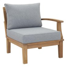 Marina Outdoor Patio Teak Right-Facing Sofa in Natural Gray
