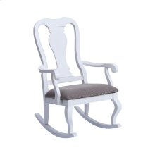 Tress White With Grey Linen Rocking Chair