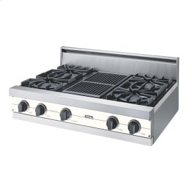 """Cotton White 36"""" Open Burner Rangetop - VGRT (36"""" wide, four burners 12"""" wide char-grill)"""