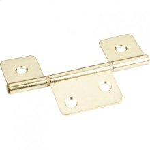 "Polished Brass 3-1/2"" Three Leaf Fixed Pin Swaged Non-Mortise Hinge"