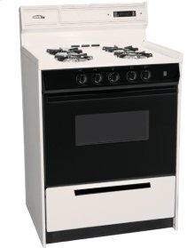 """24"""" Wide Bisque Gas Range W/sealed Burners, Electronic Ignition, Digital Clock/timer, Black See-through Glass Oven Door and Light; Replaces Stm6307dfk"""