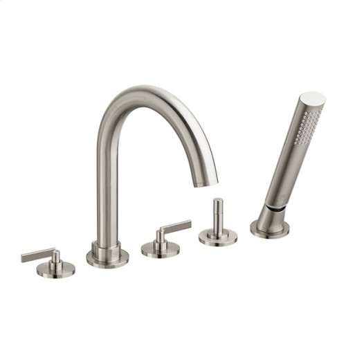 Percy Deck-Mounted Bathtub Faucet with Stem Handles - Brushed Nickel