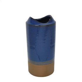 "Ceramic Vase 10.75"", Blue / Brown"