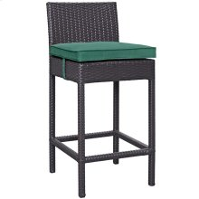 Convene Outdoor Patio Upholstered Fabric Bar Stool in Espresso Green