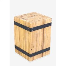 (LS) Hendrick Square Stool with metal accents (12x12x18)
