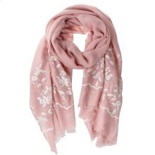 Pink Floral Embroidered Scarf.