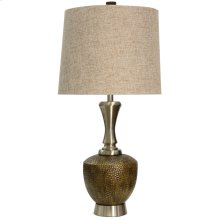Strausburg Molded Body and Brushed Steel Base Table Lamp with Hardback Fabric Shade