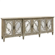 Naples 6 door cabinet features bold overlay grill fronting mirrored doors. Has a breakfront centered