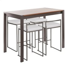 Fuji 5-piece Counter Set - Antique Metal, Walnut Wood, White Pu