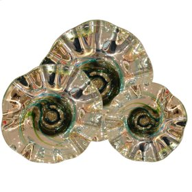 Metallic wall plates w/spiral Turquoise Lime w/spiral lines