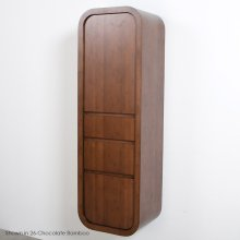 "Wall-mounted tall cabinet with 3 drawers with finger pull openings, one adjustable shelf behind a single door, and rounded corners, 19""W, 15""D, 60""H"