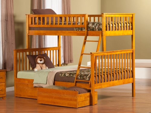 Woodland Bunk Bed Twin over Full with Flat Panel Bed Drawers in Caramel Latte