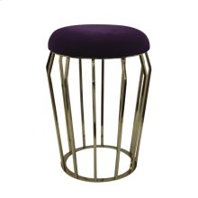 "Metal 22"" Gold Stool, Purple Cushion"