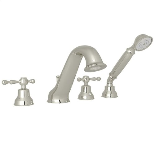 Polished Nickel Arcana 4-Hole Deck Mount Tub Filler & Handshower with Arcana Series Only Ornate Metal Lever