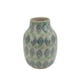 "Ceramiv 11"" Vase, Green/white"