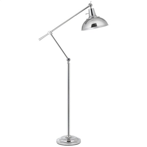 100W Eupen Metal Adjust able Floor Lamp With Metal Shade In Chrome