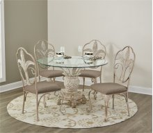 D252-36RB/01/22    Counter Height Dining Table and 4 Stools, Antique White (Pineapple)