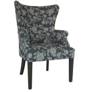 Heatherbrook Upholsted Floral Pattern Grey Wingback Chair with Distressed Grey Legs Product Image