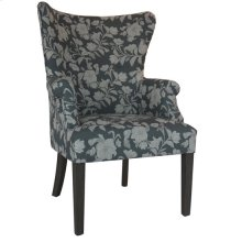Heatherbrook Upholsted Floral Pattern Grey Wingback Chair with Distressed Grey Legs