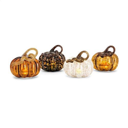 Small Glass LED Pumpkin - Ast 4
