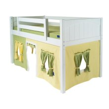 Under Bed Curtain : Green/Soft Yellow
