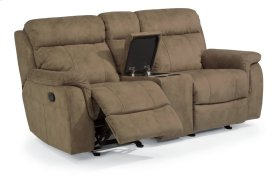 Casino Fabric Gliding Reclining Loveseat with Console