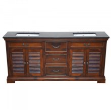 Wood Double 72 in. W Vanity Natural Teak Finish