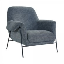 Elie Contemporary Pewter Accent Chair with Metal Base