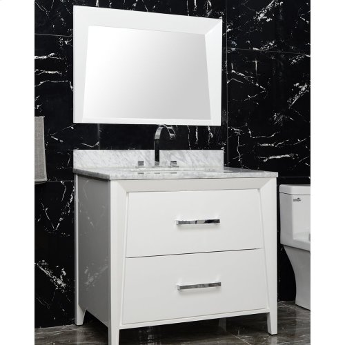 Walnut Brown CANTO 36-in Single-Basin Vanity Cabinet with Carrara Marble Stone Top and Muse 20x13 Sink