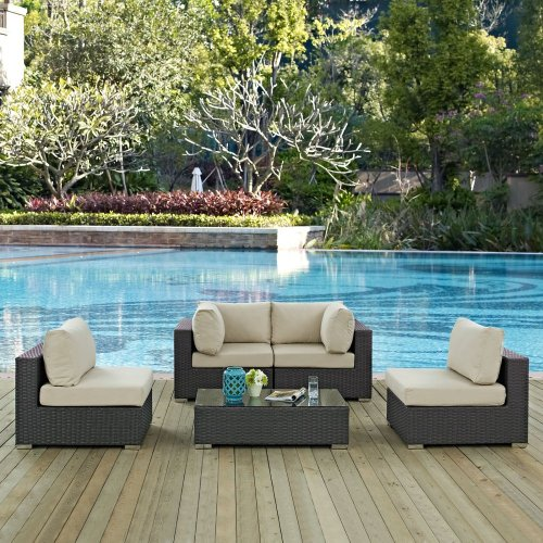 Sojourn 5 Piece Outdoor Patio Sunbrella® Sectional Set in Canvas Antique Beige