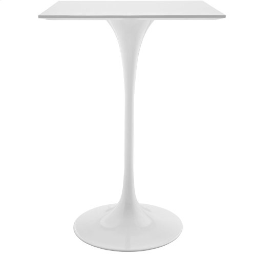 "Lippa 28"" Square Wood Top Bar Table in White"