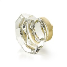 """City Lights, Faceted Dome Glass Knob, Satin Brass, 1-3/4"""" dia"""