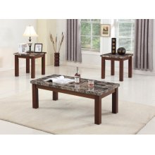 3PC MARBLE TOP C/E TABLE SET